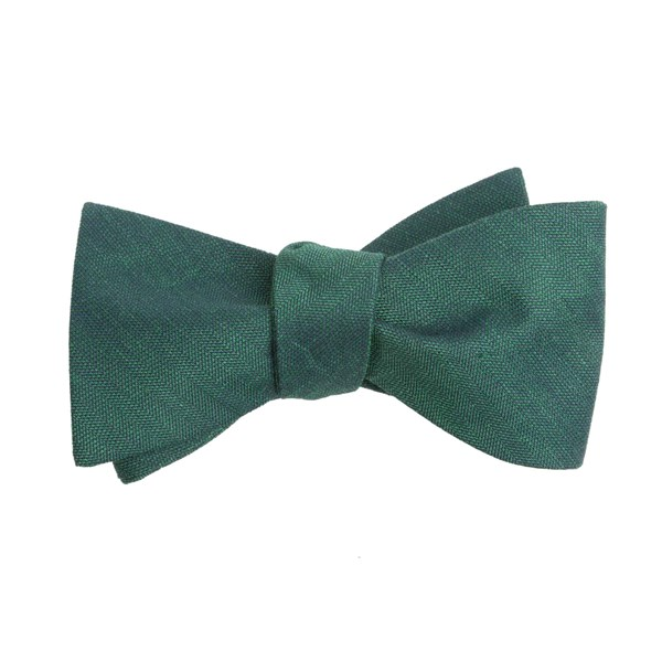 Hunter Green Linen Row Bow Tie