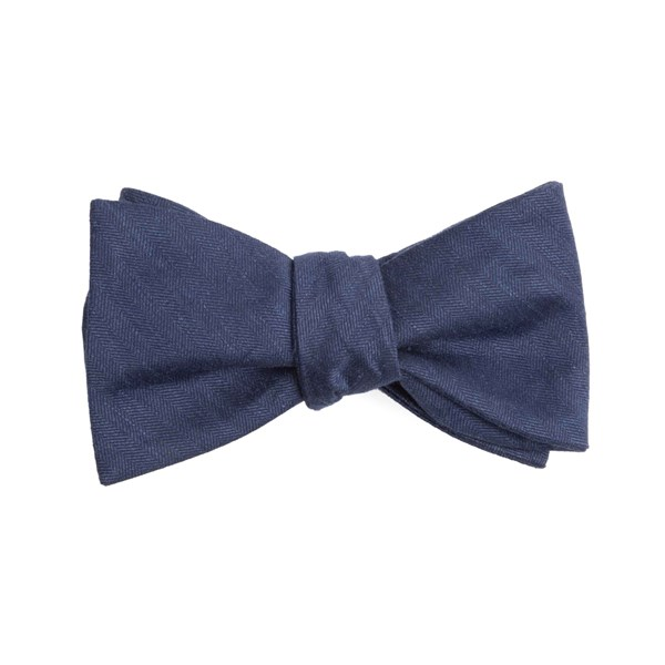 Navy Linen Row Bow Tie