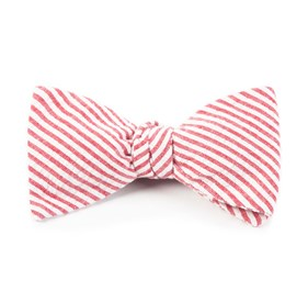 Red Seersucker bow ties