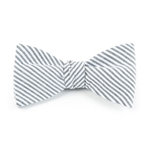 seersucker grey bow ties