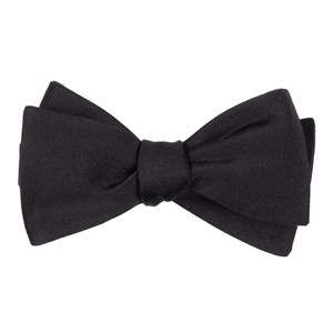 solid satin black boys bow ties