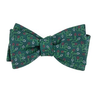 holiday string lights hunter green bow ties