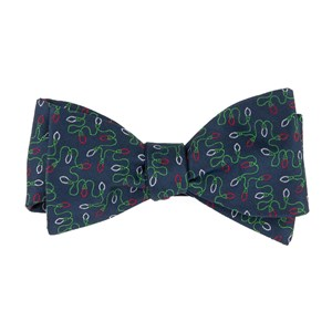 holiday string lights navy bow ties