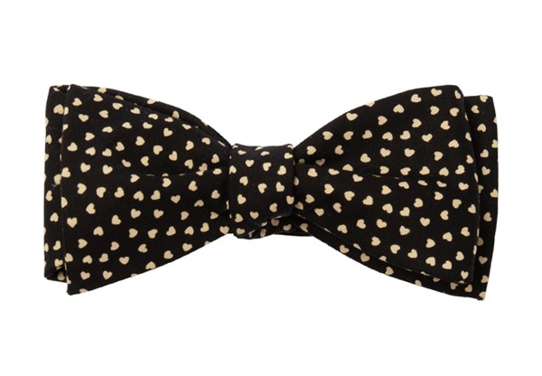 Animated Hearts Black Bow Tie