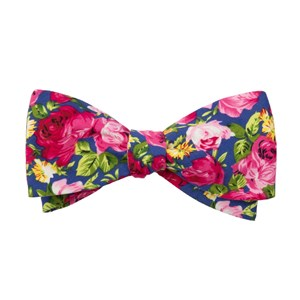 rosebush floral blue bow ties