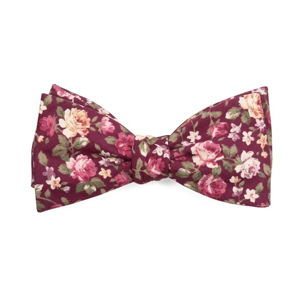 Burgundy Moody Florals Bow Tie