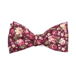 Moody Florals Burgundy Bow Tie