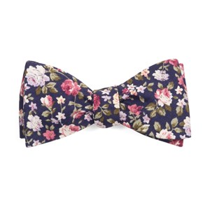 moody florals navy bow ties