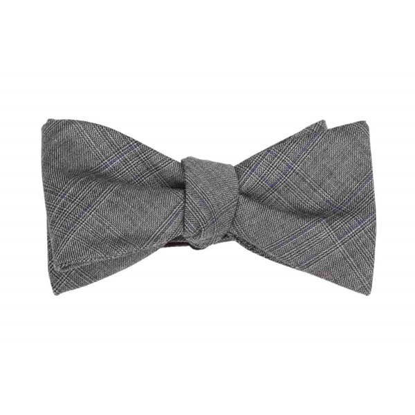Grey Azur Glen Plaid Bow Tie
