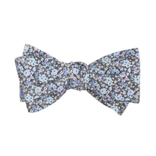 Corduroy Freesia Floral Charcoal Bow Tie