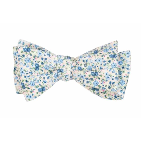 Light Champagne Corduroy Freesia Floral Bow Tie