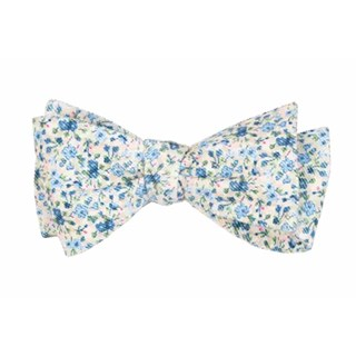 Corduroy Freesia Floral Light Champagne Bow Tie