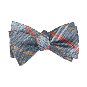 misty plaid slate blue bow ties