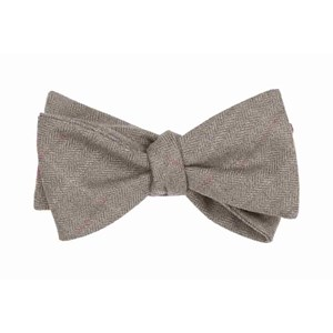 petite herringbone plaid brown bow ties