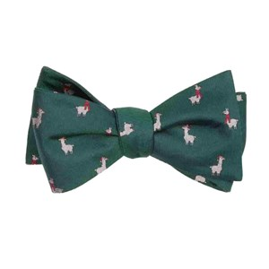 fa-la llama hunter green bow ties