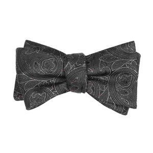 paisley fortune black bow ties