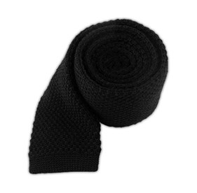 Black Knit Solid Wool ties