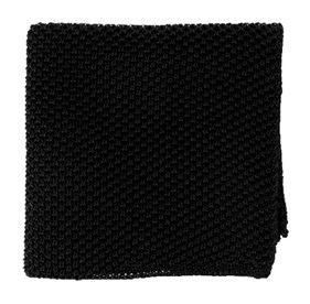 Black Solid Knit pocket square
