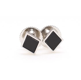 Black Capital Stud Cufflinks
