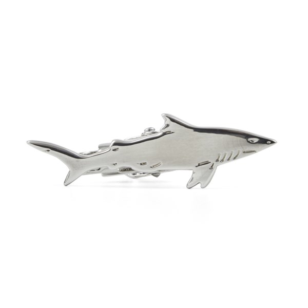 Shark Silver Tie Bar