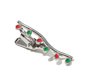 Holiday Lights Silver tie bar