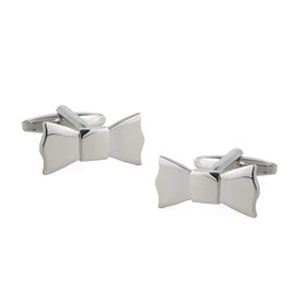 Silver Bow Tied Cufflinks