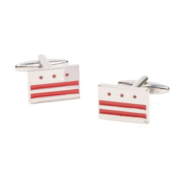 Silver Washington Dc Flag Cufflinks