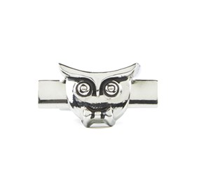 Silver Signature Owl tie bar
