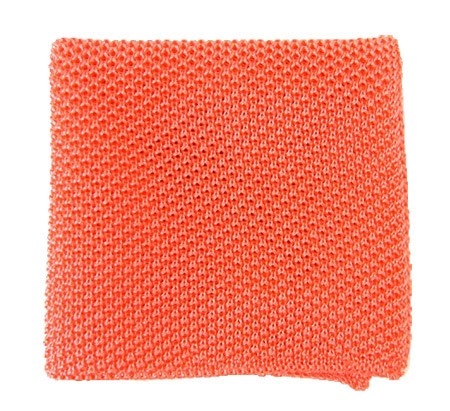Coral Solid Knit Pocket Square