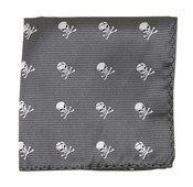 Pocket Squares - SKULL AND CROSSBONES - CHARCOAL