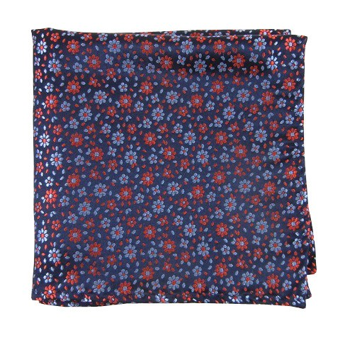 Navy Milligan Flowers Pocket Square