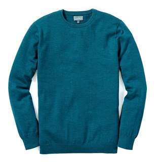 Perfect Merino Wool Crewneck Heather Teal Sweater
