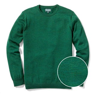 perfect merino wool crewneck heather green sweater