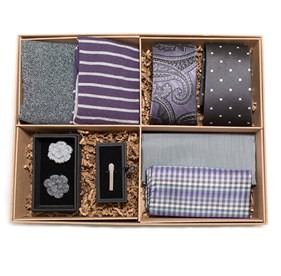 The Grey And Purple Style Box Grey Ties
