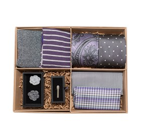 Grey The Grey And Purple Style Box ties