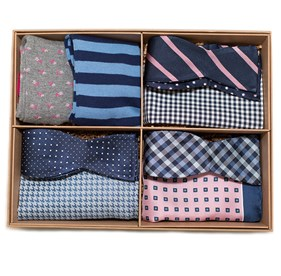 Pink The Pink And Navy Style Box bow ties