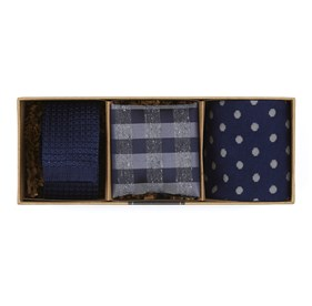 Navy Silk Knit Gift Set ties