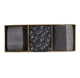 Grey Silk Knit Gift Set ties