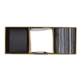 Charcoal Astute Solid Gift Set ties