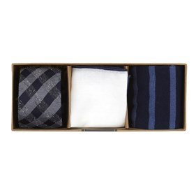 Deep Slate Blue Gingham Fusion Gift Set ties