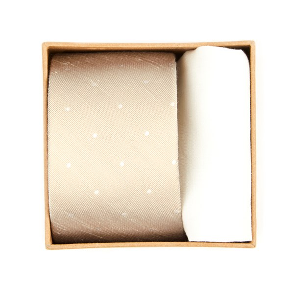 Light Champagne Bulletin Dot Tie Box Gift Set