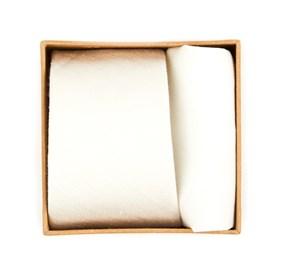 Ivory Linen Row Tie Box ties