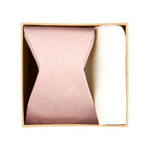 linen row bow tie box blush pink gift set