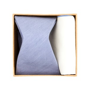 linen row bow tie box sky blue gift set