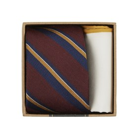 Burgundy Social Stripe Tie Box ties
