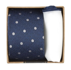 Classic Blue Dotted Hitch Gift Set ties
