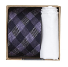 Lavender Hale Checks Gift Set ties