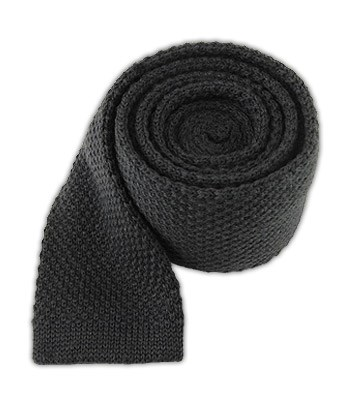 Graphite Knit Solid Wool Tie