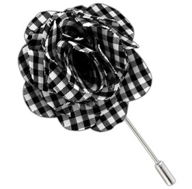 Black Petite Gingham Lapel Flower Pin