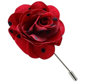 Red Cotton Dots Lapel Flower Pin
